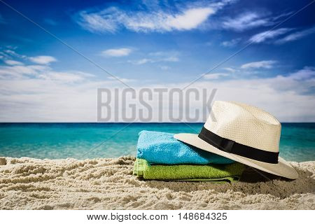 Horizontal low angle view of beach and blue sky