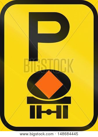 Temporary Road Sign Used In The African Country Of Botswana - Parking For Vehicles Transporting Dang