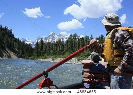 Floating down the Snake River in Teton National Park