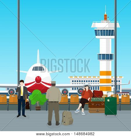 Waiting Room with People in Airport, View on Airplane and Control Tower through the Window from a Waiting Room , Travel Concept ,Flat Design ,Vector Illustration