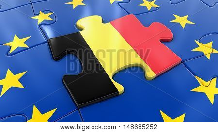 3D Illustration. Belgian flag Jigsaw as part of EU