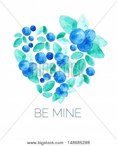 Set of floral compositions. Hearts and flowers. Watercolor. Vector. Card Be mine. For your personal design in wedding invitations