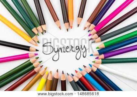 Colouring Pencils In Circle Arrangement With Message Synergy