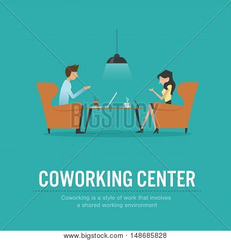 vector illustration of coworking center concept people talking meeting in coffee shop coffee desk discussingworkinglaptop