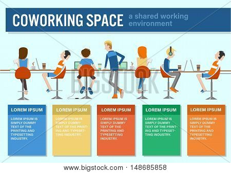 vector illustration of coworking center concept people talking meeting in coffee shop working together colorful infographic template