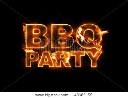 BBQ Party text on fire isolated on black background.