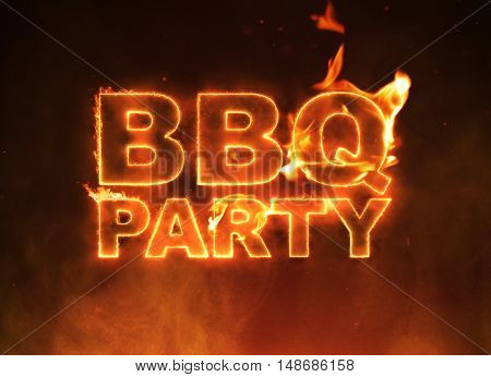 BBQ Party text on fire on smokey background.