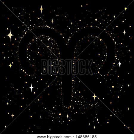 Starry sky with an image of the zodiac sign Aries with colorful stars on a black background.