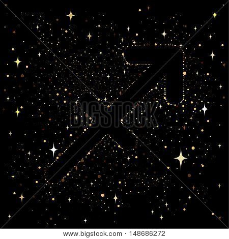 Starry sky with an image of the zodiac sign Sagittarius with colorful stars on a black. background.