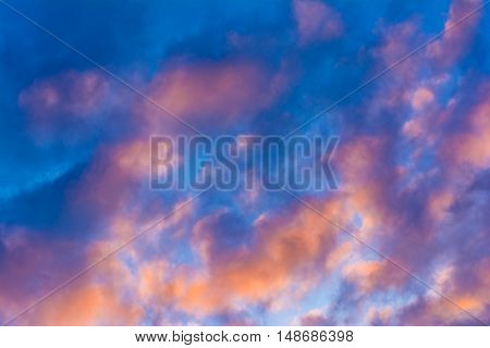Colorful sky background. Beautiful cloudy sky. Evening sky