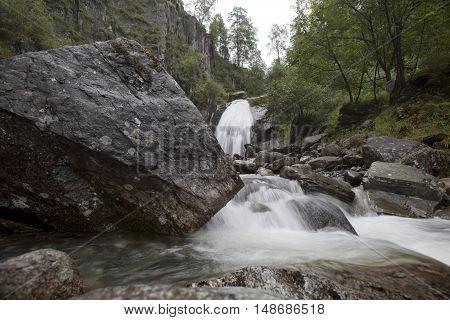 Corbu Waterfall at Lake Teletskoye in the Altai Mountains