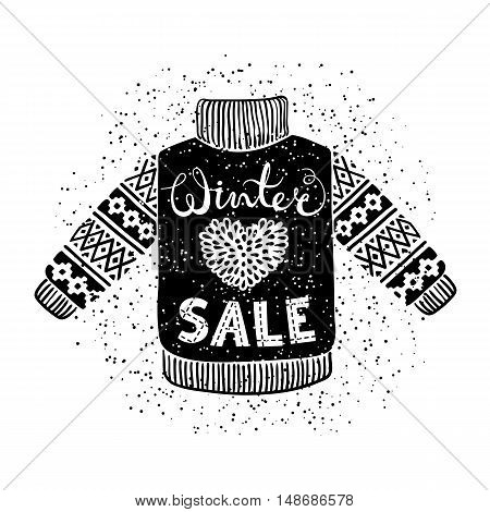 Winter Special banner or label with knitted woolen sweater. Business seasonal shopping concept sale. Isolated vector illustration.