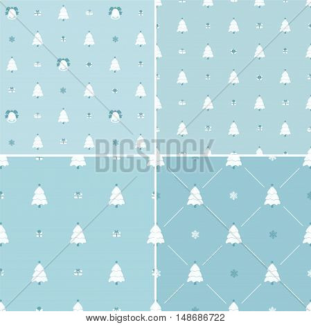 Christmas pattern, seamless. Merry Christmas card decoration. Happy New Year ornament design. Vintage Christmas tree, snowflake, gift box. Hand drawn vector icons for holiday celebration. Blue set.