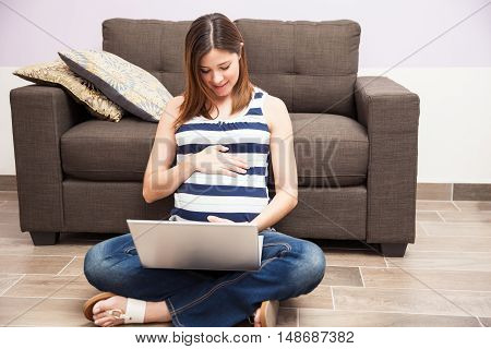 Pregnant Woman With A Laptop