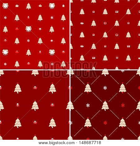Christmas pattern, seamless. Merry Christmas card decoration. Happy New Year ornament design. Vintage Christmas tree, snowflake, gift box. Hand drawn vector icons for holiday celebration. Red set.