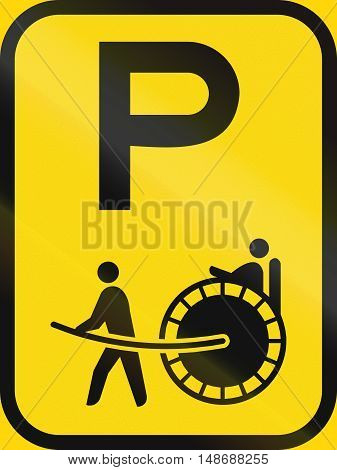 Temporary Road Sign Used In The African Country Of Botswana - Parking For Rickshaws