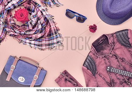 Hipster Fashion Clothes Accessories Set. Fashion Girl Autumn Outfit. Stylish Jacket, Glamor Handbag, Trendy Scarf, Hat, Rose. Fashion Design. Creative fashion Urban Concept. Top view. Overhead.Minimal