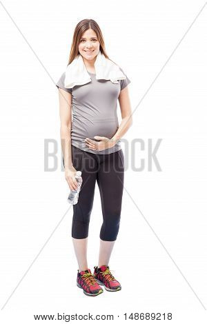 Pregnant Woman Resting After Running