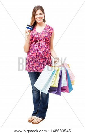 Cute Pregnant Woman Going Shopping