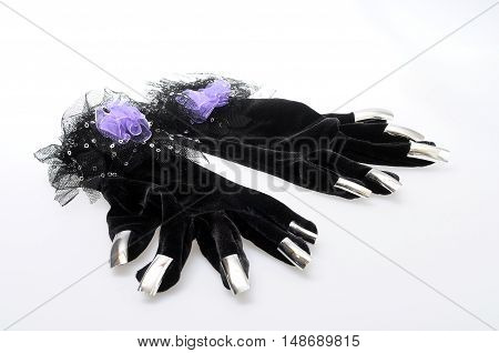 Purple And Black Hand Gloves