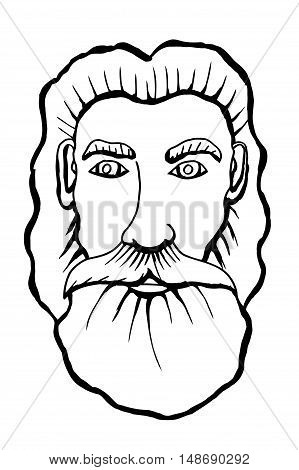 Vector monochreome hand drawn portrait of an old bearded man. Vector