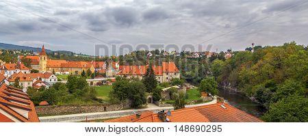 view of Minorite Monastery in Cesky Krumlov Czech republic