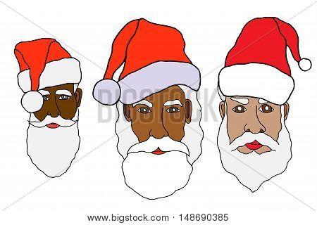Set of santa claus in cartoon style. Vector. Illustration