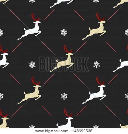 Christmas pattern, seamless design. Merry Christmas card decoration. Happy New Year ornament. Vintage black red graphics of deer and snowflake. Hand drawn vector icons for holiday sale.