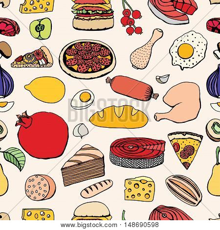 Seamless Colorful vector hand drawn food cartoon background