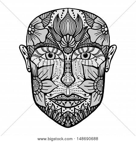 Monochrome man face of flowers. Coloring book page for adult. Vector artwork. Hand drawn amazing portrait. Love bohemia concept for wedding invitation, card, ticket, branding, boutique logo, label
