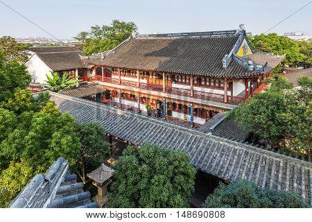Suzhou China - October 232016: Bao'en Temple complex in Suzhou Jiangsu Province China. One of the Buddha temples in China.