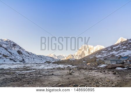 View of the village and mountain during Everest Base Camp Trekking in Nepal.