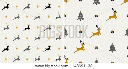 Christmas pattern, seamless design. Merry Christmas card decoration. Happy New Year ornament. Vintage grey graphics of deer, gift box, snowflake. Hand drawn vector icons for holiday sale. Set