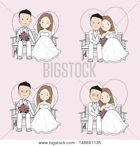 Married cute wedding cartoon ,bride and groom sitting on a chair with happy face, groom hugging bride.
