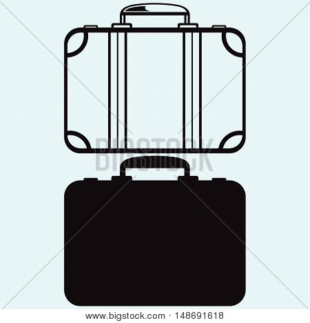 Travel Suitcase. Isolated on blue background. Vector silhouettes