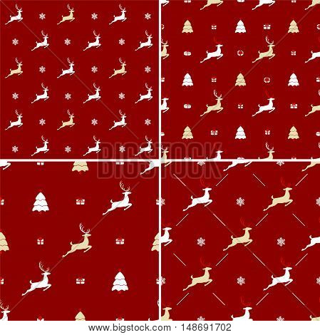 Christmas pattern, seamless design. Merry Christmas card decoration. Happy New Year ornament. Vintage red graphics of deer, gift box, snowflake. Hand drawn vector icons for holiday sale. Set