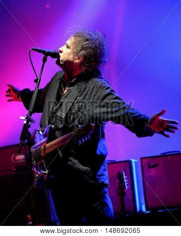 Lead singer Robert Smith performing live with The Cure  at Bestival Festival, Newport,  Isle of Wight September 10th 2016