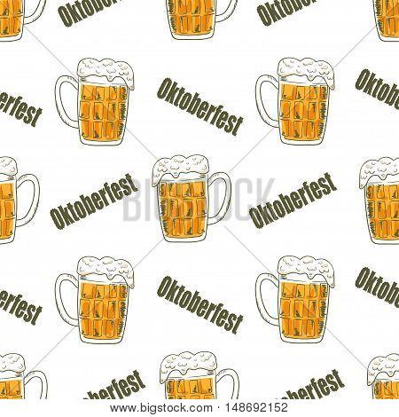 Oktoberfest seamless pattern with mugs of beer. Beer festival celebration. Vector background.