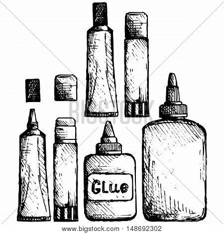 Glue icon set. Vector illustration doodle style