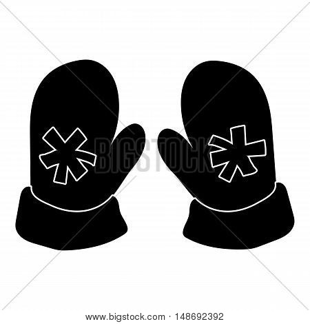 Pair of mittens with snowflake icon in simple style on a white background vector illustration
