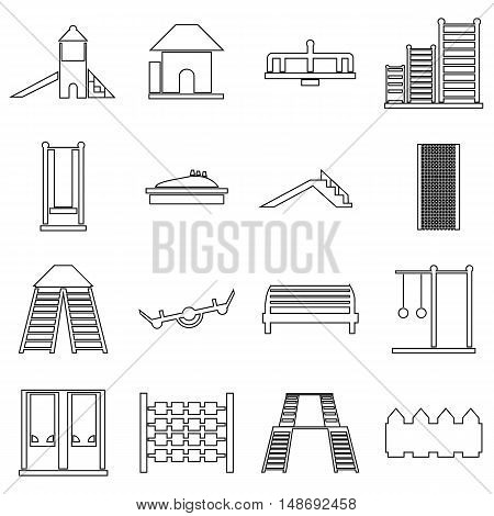 Children playground icons set in outline style. Outdoor playground elements set collection vector illustration