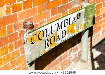 London United Kingdom - September 11 2016: Columbia Road Flower Sunday market. Columbia Road Sign