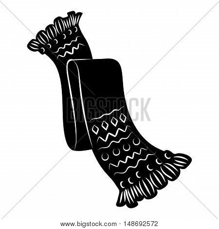 Knitted scarf icon in simple style on a white background vector illustration