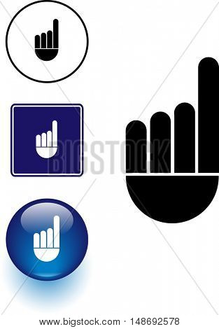 hand pointing up symbol sign and button