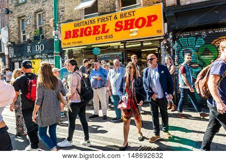 London United Kingdom - September 11 2016: Brick Lane street Sunday market. Famous Britains First and Best Beigel Shop