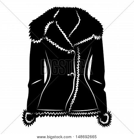 Sheepskin jacket icon in simple style on a white background vector illustration