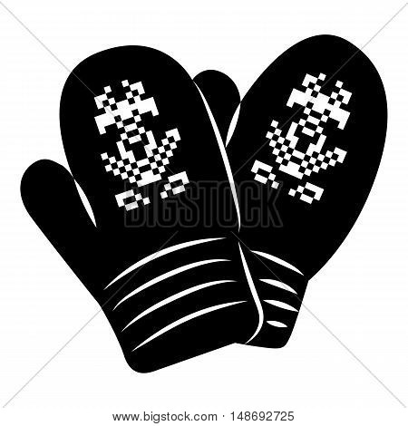 Pair of mitten icon in simple style on a white background vector illustration