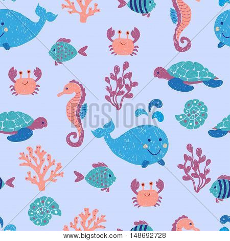 Cute sea animals seamless pattern. Vector background with children drawings of whale, turtle, sea horse and fishes.