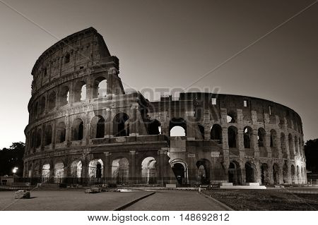 Colosseum at night in Rome Italy black and white