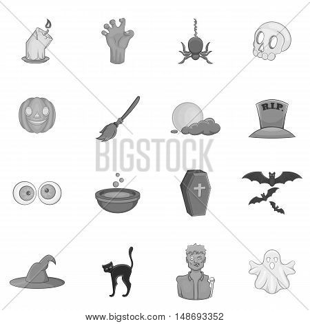 Halloween icons set in black monochrome style. Halloween holiday elements set collection vector illustration